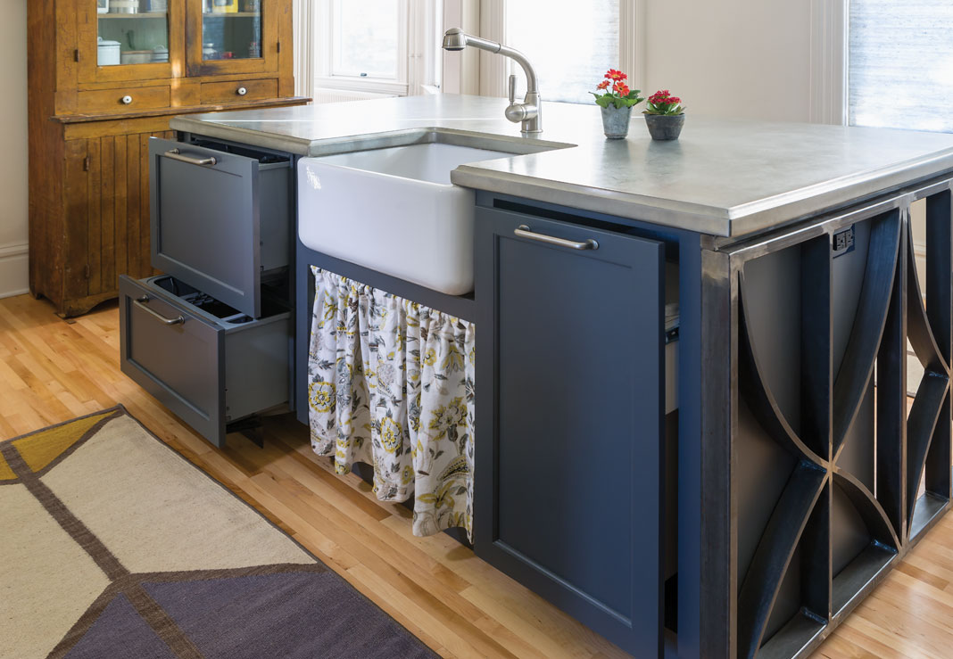 The unique pewter countertop will develop a natural patina over time.