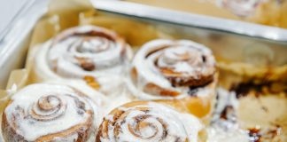 Pan of cinnamon rolls