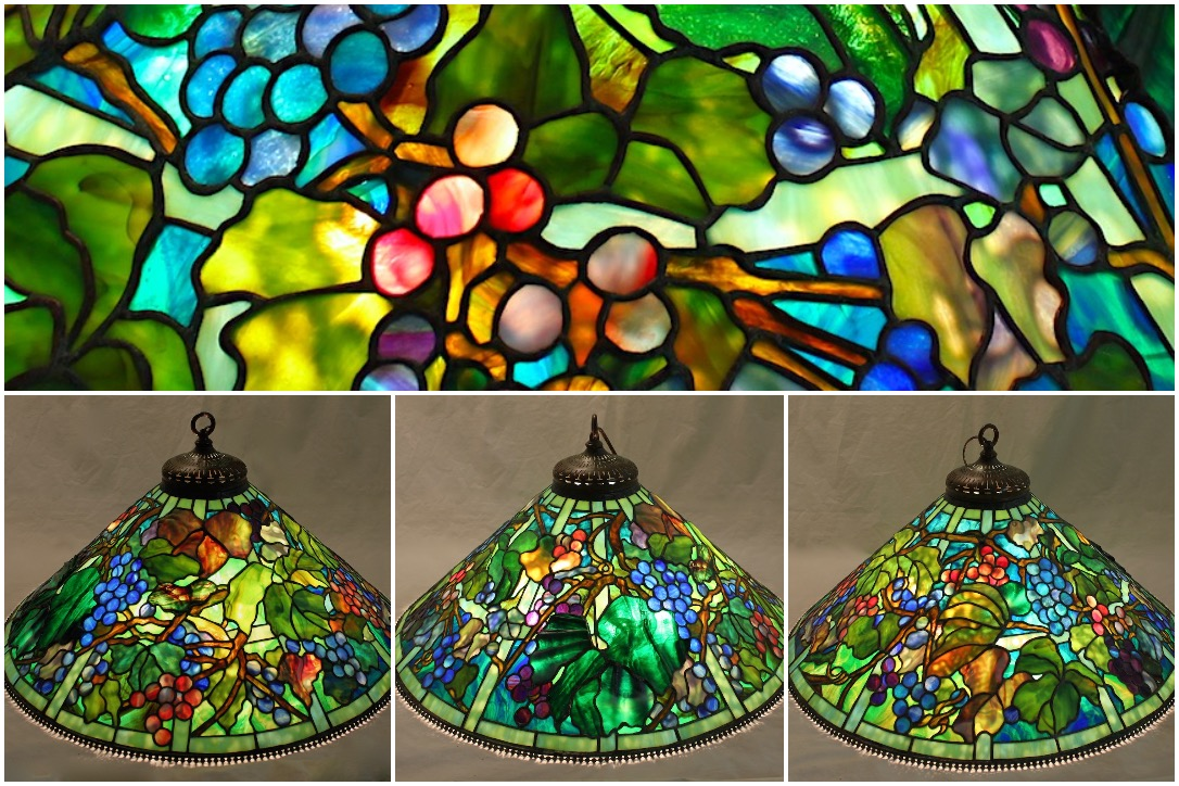 A close up of the grape trellis glass design of the lamp followed by the lamp at different angles.