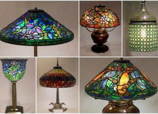 A collection of six lamps with cyclamen, apple blossoms, chain mail links, and fish