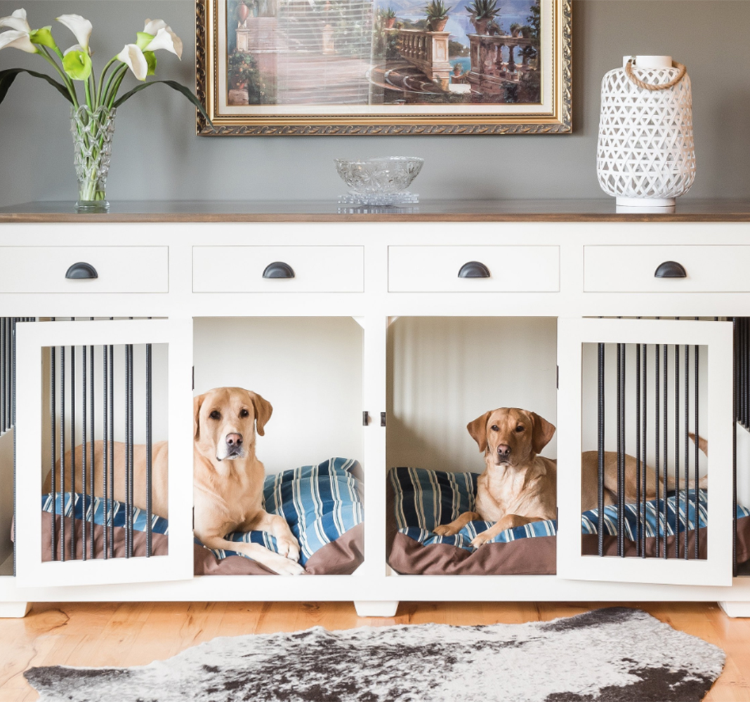 Photo of dog crate built into furniture