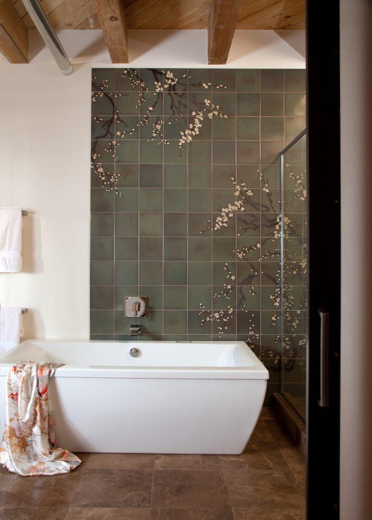 Image of Kibak Sakura Cherry Tree Mural on tiles