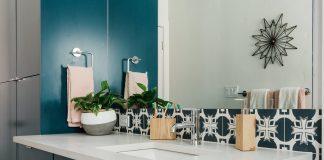 Image of bathroom sink and tile backsplash