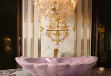 Rose quartz crystal bathtub made in Italy