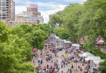 An aerial view of Stone Arch Bridge Festival.