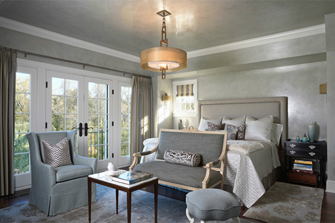 Image of white, silver, and gray master bedroom