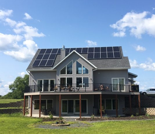 A home with solar panels on the roof