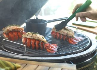 Lobster tails cooking on a Big Green Egg grill