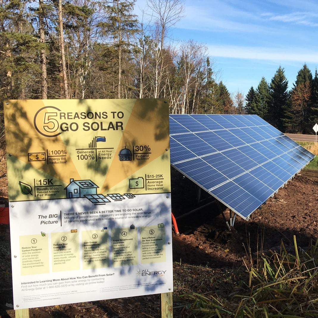 A sign explaining the benefits of solar energy