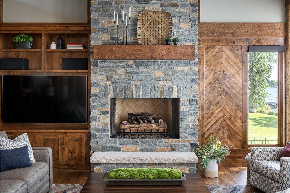 Living room of the Lake Pulaski mountain modern house. Photo by Jordan Powers.