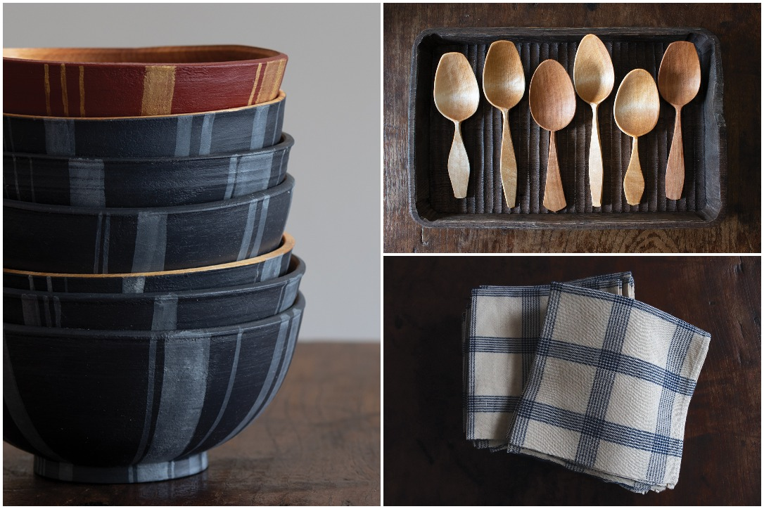 Bowls, spoons, and dish towels by Woodspirit Handcraft.