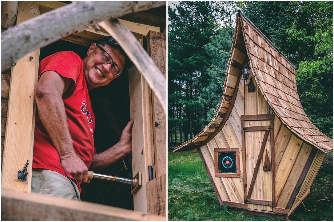 Dan Hines and one of his wooden sheds. Photo courtesy Barntiques Custom.