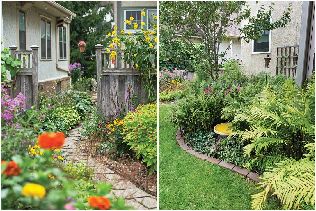 Two views of the gardens of Susan Hopp, owner of A Pretty Posy. Photos by Tracy Walsh.