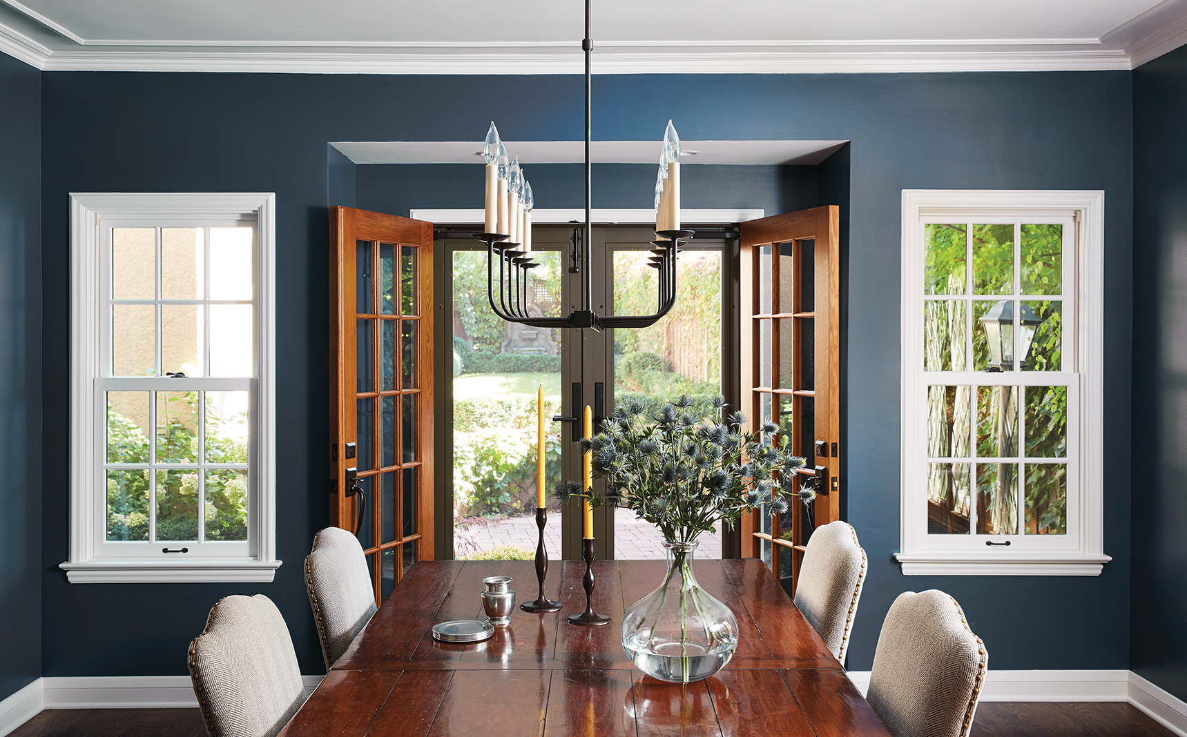The dining room of the Chisel Architecture-remodeled Tudor home.