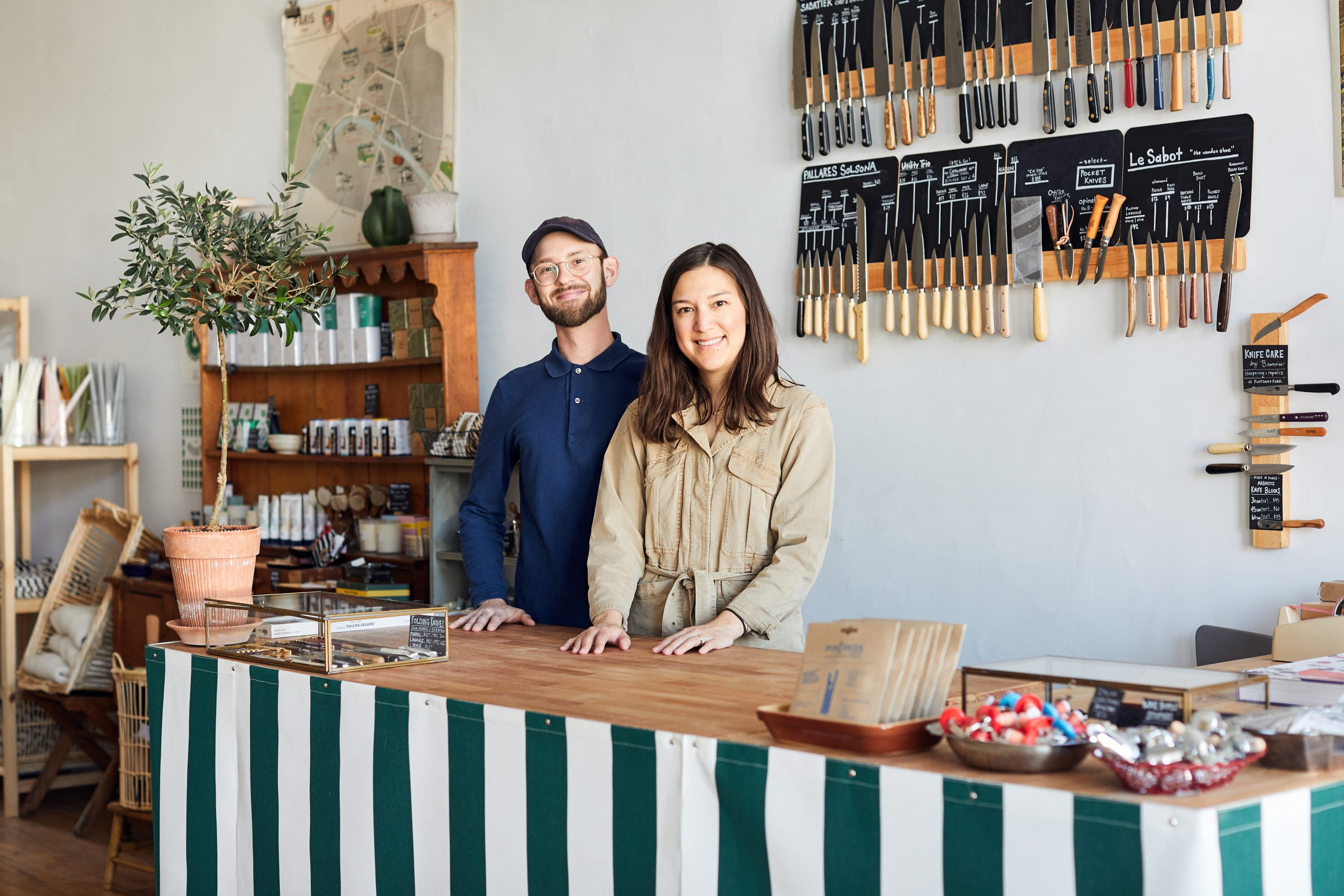 Owners (and husband and wife) Joe Hasler and Adrianna Fie at their store, Flotsam + Fork