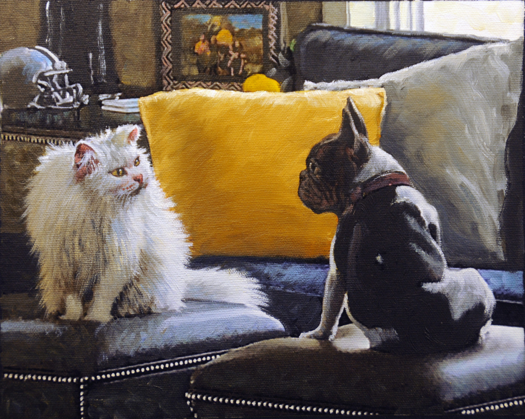 This Post and Paint work of art forever captures the everyday dynamics between two pets.