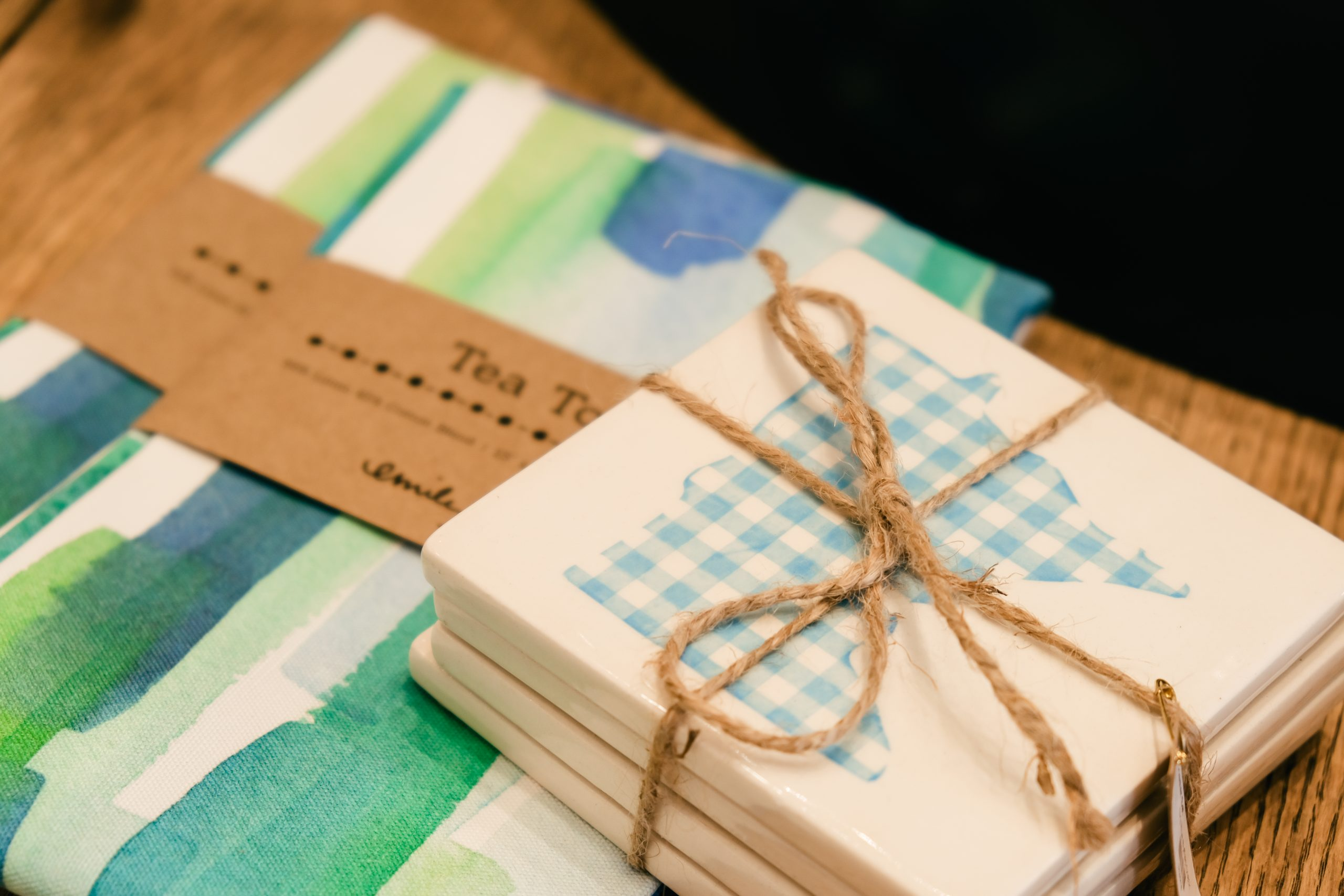 Tea towels and coasters at Fox Run