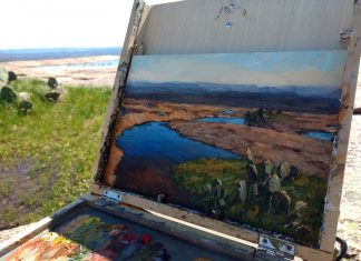 Plein air by Hannah C. Heyer. Heyer was one of the 2020 Red Wing Plein Air artists, although this piece was created in Texas earlier in the year.