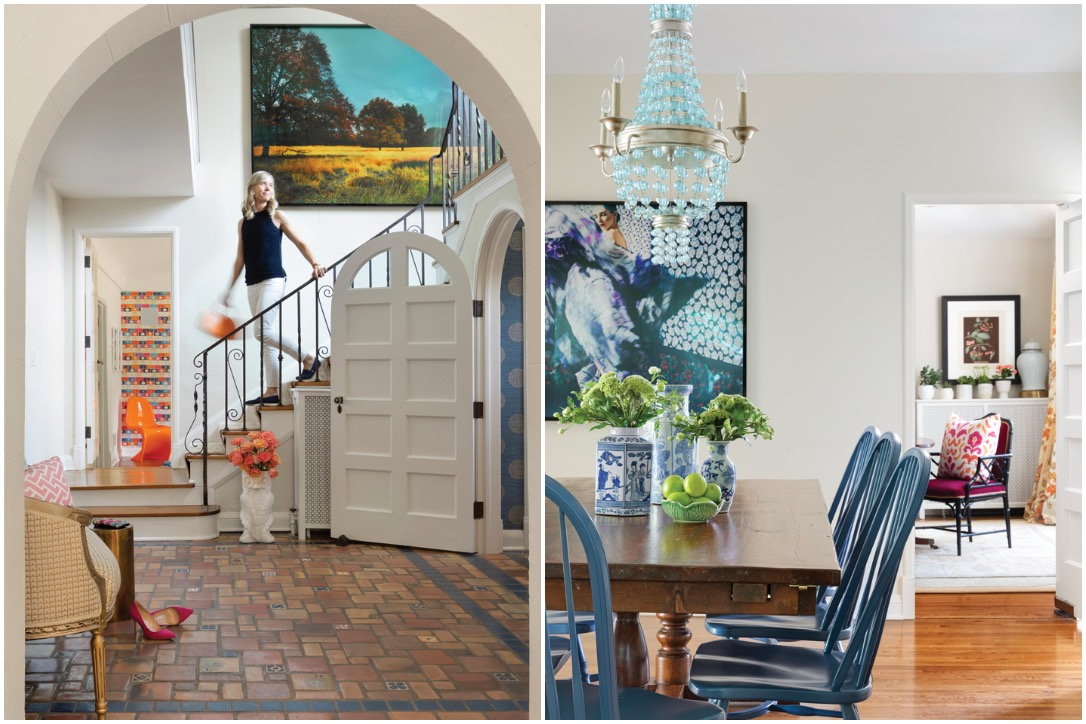 From left to right: Dreamy archways and Spanish floor tile in the foyer highlight the home's Mediterranean style. In the nearby breakfast room, a turquoise Currey & Company chandelier adds a playful touch over a farmhouse-style dining table.