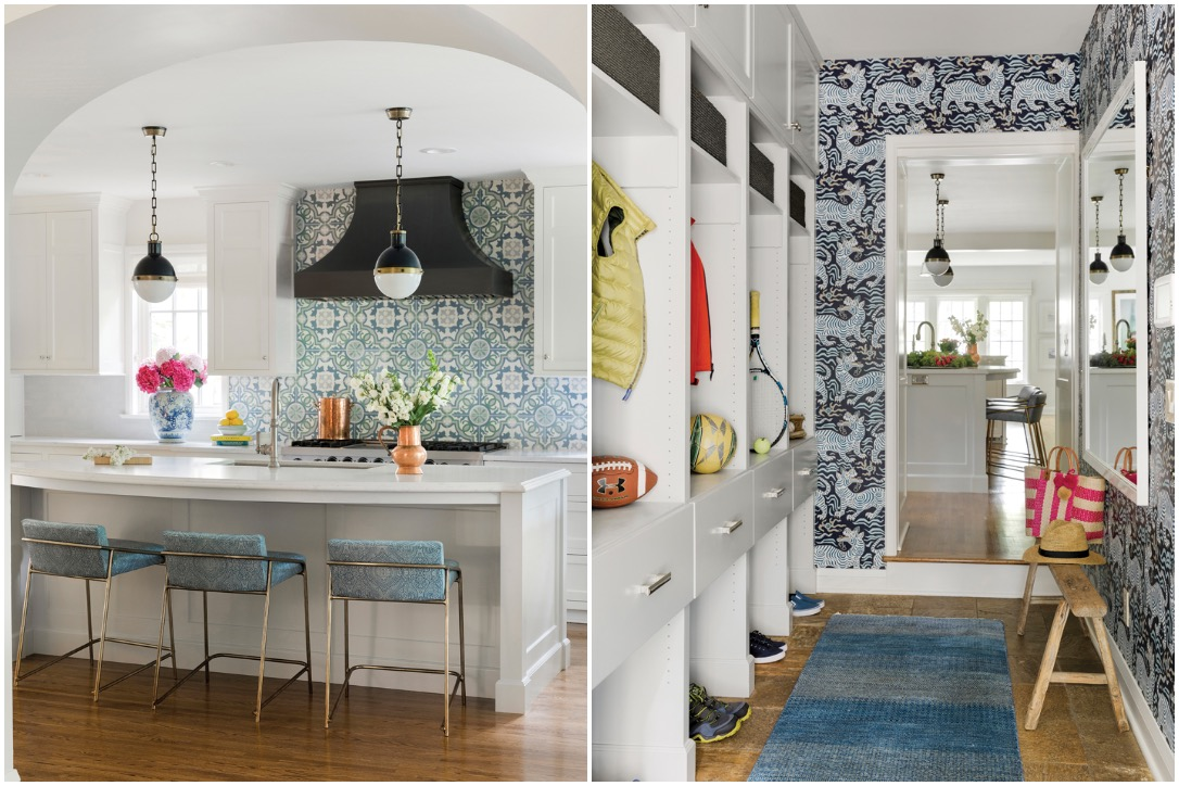From left to right: The kitchen, once defined by dark and dated wood finishes, now features brass fixtures, a delicate backsplash design, and a sleek horseshoe island. In the adjacent mudroom, Chinoiserie Tibet dragon wallpaper adorns the walls, creating a striking focal point.