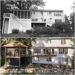 Above is the original deck, porch, and exterior. Below, you can easily see how Christopher Strom's design opens everything up.